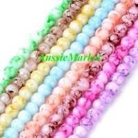 50 x glass beads marble effect marbled mixed pastel colours loose 8mm jewellery