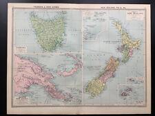 Antique Map Of New Zealand Tasmania British New Guinea   1926