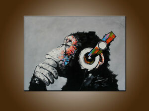Wall Art Thinking Monkey With Headphone Oil Painting Canvas Modern Abstract Deco