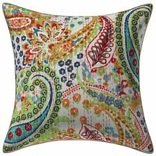 "Indian Kantha Handmade Sofa Cushion Cover Vintage Pillowcase Cover 16"" Throw"