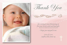 30 Personalised Girl / pink Christening Cards complete with envelopes CT3