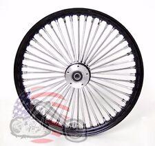 Black 48 King Spoke Fat 21 2.15 Front Wheel Dual Disc Harley Touring & Softail