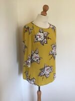 Joules Top UK 8 Yellow Floral Blouse SYLVIE Spring Summer Smart 3/4 Sleeve
