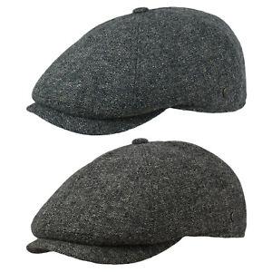Schiebermütze Flatcap Gatsby Cap Herren Kappe 100% Wolle Petrol/Grau Wegener