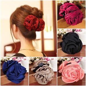 Fashion Womens Girls Chiffon Rose Flower Bow Hair Claw Clamp Barre Clip Jaw K2O0