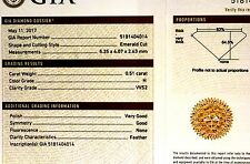 GIA loose certified emerald cut .51ct diamond VVS2 H vintage estate antique