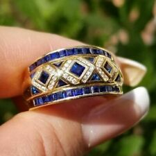 14K Yellow Gold Over 1.75CT Princess Cut Blue Sapphire Wedding Engagement Ring