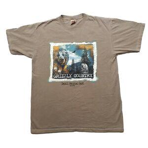 Vintage 90s Grizzy Bear Country Denali National Park Alaska Nature T-Shirt