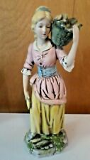 "Vintage Homco Ceramic Figurine ""Maiden Carrying Basket Of Corn"""