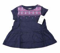 OshKosh B'gosh Girl's Aztec Puff Print Knit Peplum Top AB4 Navy Blue Size 4T NWT