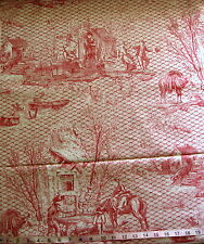 "100% Cotton Fabric ""Toile - Red"" Dancing Couple/Farmhouse/Travelers, 46"" Wide"