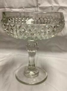 Vintage clear Diamond Point pattern Glass 5.5 Round Ruffled CandyNut Dish