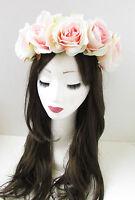 Large Blush Pink Rose Flower Headband Hair Crown Summer Festival Garland X-95
