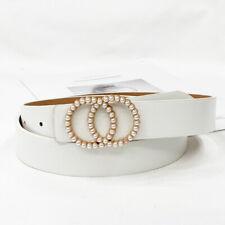 Fashion Women Leather Waist Belt Luxury Pearl Rhinestone Studded Buckle Belts yz