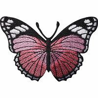 Pink Butterfly Embroidered Iron / Sew On Patch Dress Skirt Shirt Jeans Bag Badge
