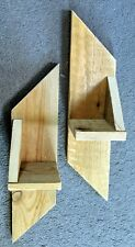 Pair of Hand-Made Contemporary Garden Wooden WALL SCONCES