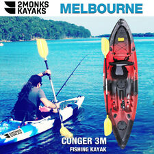 Fishing Kayak Single Sit-On 3M 5Rod Holders Seat Paddle Melbourne Red Black