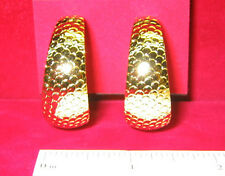 "MADE IN USA - Clip on Gold Plated Texture ~1-3/8"" Hoop Earrings  (#C13009)"
