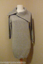 NWT Le Pavot Heather Gray Pure Cashmere Fichu Neckline Tunic Sweater SZ S $495