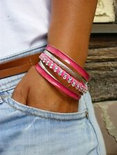 Armreifen Leder Armband Silber Pink  Schmuck Strass Leder Optik  Neuware  P.01