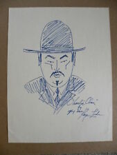 Charlie Chan Signed Drawing #1 Son Keye Luke of Dad Charlie Chan