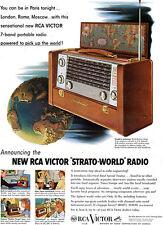 RCA Victor Strato World Radio 7-BAND PORTABLE Pick Up The World 1953 Magazine Ad