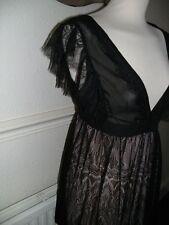 FAB Abiti mostra abito esclusivo taglia media nera pizzo su mini abito nuovo senza etichetta