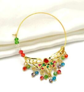Indian Wedding Multi Color Nose Pin Nathini Nose Ring Pin Bridal Nath Jewelry