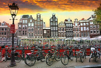AMSTERDAM CITYSCAPE CANVAS WALL ART HOME DECOR PICTURE PRINT FRAMED 20X30 INCHES
