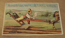 """Antique ca 1890 COMIC Ad Trade Card~""""AVERY 'Granite Chilled' PLOWS""""~Hanford CA~"""