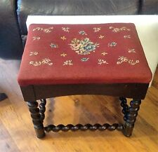 Antique Floral Needlepoint Topped Stool Bench Wooden Barley Twist Legs Design