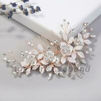 Bridal Hair Comb Wedding Headpiece Leaves Crystals Faux Pearls Rhinestone Gift