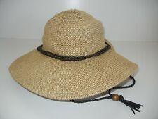 REI Brown Paper WIDE BRIM SUN HAT Summer Beach Casual Woven Lady Hike Women Cap