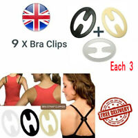 9 x Easy Use Bra Strap Clips Racer Top Cleavage Enhancer Converter Adapter Dress