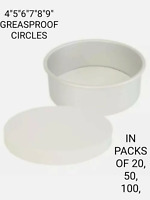 GREASEPROOF PAPER CIRCLES CAKE BAKING LINERS. 5,6,7,8,9,INCH.