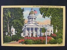 Fresno California CA County Courthouse Vintage Color Linen Postcard 1930-45