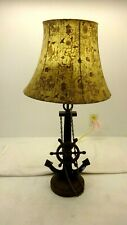 """LARGE BRASS NAUTICAL LAMP WITH SHADE 34"""" TALL"""