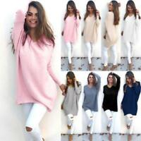 Women Long Sleeve Sweater Blouse Ladies Oversized Knitted Jumper Sweatshirt Tops