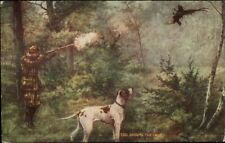 Hunting - Hunter w/ Dog - Shooting Bird c1910 Postcard