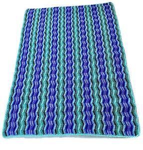 Ripple Afghan Blanket Crochet Throw Aqua Purple Green Turquoise Soft Acrylic