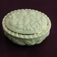 1998 LENOX Fine China Fruits of Life Oval Trinket Box with Gold Trim Cream (5A2)