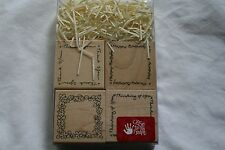 Lot of boxed wooden rubber stamps birthday thank you  border frame scrapbooking
