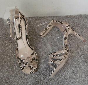 Miss Selfridge Natural Snake Effect SADIE 3 Strap Heeled Sandals Size UK 4 EU 37