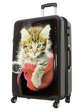 Koffer XL Groß Katze Tiger 77 cm Hartschale 4 Rollen Reise Trolley Bowatex