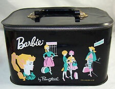 Vintage Barbie Doll Black Vinyl Travel Pal Train Station Case Trunk 1962 RARE