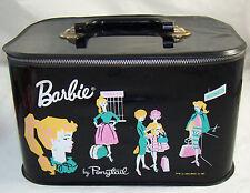 Vintage Barbie Doll Black Vinyl Travel Pal Train Station Case Trunk 1962 RARE