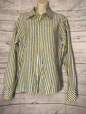 VTG 90s United Colors Benetton LS Button Down Blue Yellow Stripe Shirt Medium