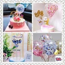 Confetti Latex Balloon Cake Topper Ribbon Dessert Birthday Multi Party Decor UK