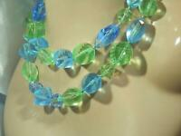WOW Soo Showy Blue Crystal Green Lucite Vintage 60's Large Beaded Necklace 932n0