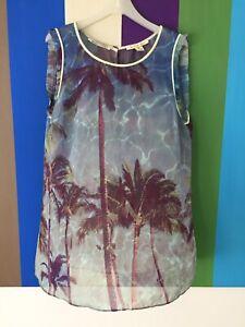 Maison Scotch Womens Blouse 3 Sheer Tropical Drift top Dress Shirt sleeveless 12